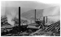 Blast furnaces with stock house and blower houses, Lower Works, Cambria Iron Works (Johnstown, Pa.)