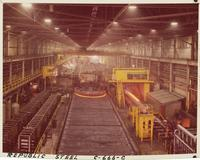 Interior view of bar mill from overhead crane, Republic Steel Corporation (Chicago, Ill.)