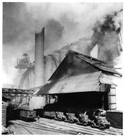 Blast furnace iron tapping into ladle, Carrie Furnaces, Homestead Plant, Carnegie-Illinois Steel Company (Pittsburgh District, Pa.)