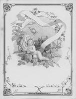 Lithograph textile label of baby with greenery and ribbon