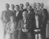 Group of Print Works Division employees with trophy (Eddystone, Pa.)