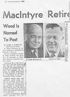 Newspaper clipping on the retirement of W. Ralph MacIntyre from Joseph Bancroft & Sons Co.