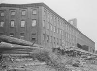 Exterior of warehouse and logs at Print Works Division (Eddystone, Pa.)