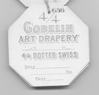 Gobelin Art Drapery Co. textile tag for dotted Swiss