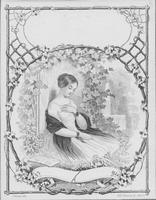 Lithograph textile label of woman seated in garden setting
