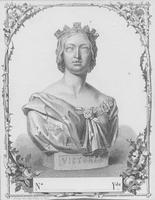 Lithograph textile label depicting bust of Victoria, Queen of Great Britain