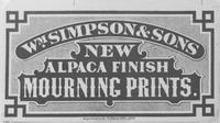 William Simpson & Sons textile label for alpaca finish mourning prints