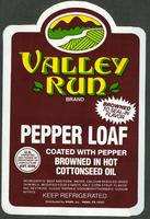 Wawa packaging label for Valley Run Pepper Loaf