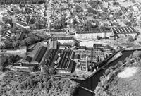 Millville Manufacturing Company mill buildings and Manatico bleachery aerial view