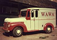 White and red Wawa Dairy Farms home delivery truck (Philadelphia, Pa.)