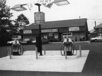 Gasoline pumps and 200th Wawa store exterior during grand opening (Souderton , Pa.)