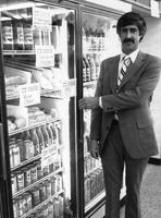 Vice President of Wawa Inc., Barry Wright, in refrigerated section during opening of the 200th Wawa store (Souderton , Pa.)