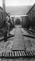Soldier on wooden walkways at French military hospital