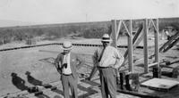 Mac and Charles Augustus Belin on foundations for Belin's new house in Tucson, Ariz.