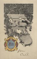 Christmas card featuring sketch of home of Charles Augustus Belin