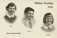 Christmas card from the Ruth and Stewart Mott family, 1949