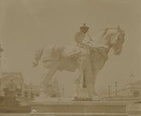 Statue of man with shovel and horse at Chicago Exposition