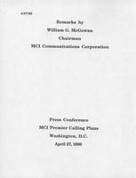 Remarks by William G. McGowan at Press Conference for MCI Premier Calling Plans