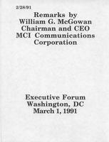 Remarks by William G. McGowan at the Executive Forum
