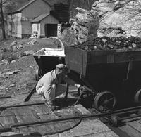 Materials being sent to mill for pulverizing at the Belin Works near Moosic, Pennsylvania