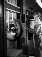Testing tires at Textile Research Laboratory at Chestnut Run