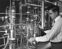 Research chemist conducting explosives research