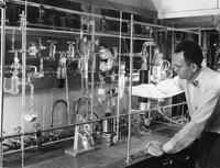 Purifying gases in laboratory at E.I. du Pont de Nemours & Company Experimental Station