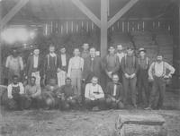 Workmen in front of cut spokes at Hoopes, Bro. & Darlington sawmill (Jackson, Miss.)