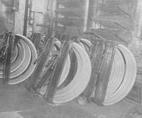 Wheel rims air drying, from 'The Wooden Wheel Industry'