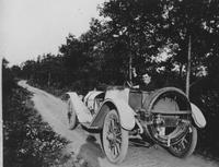 W. C. Moore in personal car built from old Matheson chassis