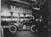 Charles W. Matheson with Matheson 45 horsepower vehicle at New York show