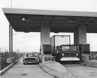Toll plaza with vehicles