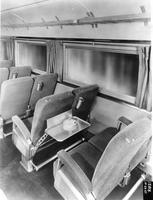 Interior of passenger car on the Mark Twain Zephyr train built by the Budd Company.