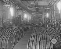 Wheels stored at end of line in factory