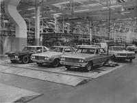 Automobile assembly, roll test, at General Motors assembly plant in Fremont, Calif.
