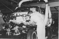 Automobile assembly, body drop, at General Motors assembly plant in Wilmington, Del.