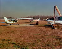 Ground view of civilian airplanes at Pitman Airport in Pitman, New Jersey
