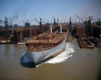 S.S. World Banner launching at Sparrows Point Yard