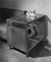 Momentum rolling end table, 1949