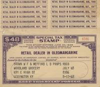 Tax Stamp for retail dealer in oleomargarine issued in Lexington, Ky.