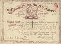 Swadeshi Oil Mills Co. stock certificate