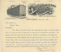 Illustrated letterhead from Eavenson & Sons Toilet & Laundry Soaps