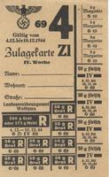 World War II German food ration card for bread, meats, and margarine