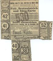 World War I German food ration card for fats, spread, and cheese