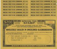 Tax Stamp for wholesale dealer in uncolored oleomargarine issued in Youngstown, Ohio