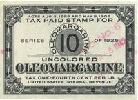 Tax paid stamp for uncolored oleomargarine