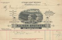 Invoice for soap from Allison Brothers Soap Manufacturers