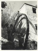 Exterior of olive oil mill showing water wheel
