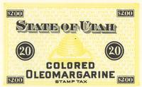 State of Utah Colored Oleomargarine Stamp Tax