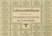 World War II German ration card for wheat flour, sugar, butter or margarine, cereal or legumes, and jam